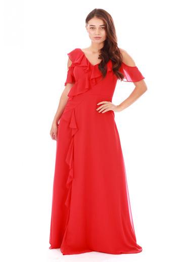 Pierre Cardin Krep Büzgülü Uzun Abiye Elbise Kırmızı
